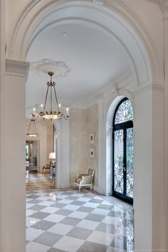 Corner View of a Hallway in the Crespi Hicks Estate Home in Preston Hollow - Photograph 19326 love the door and the pale grey and creme floors Home Luxury, Luxury Homes, Floor Design, House Design, Foyer Flooring, Decoration Entree, Home Modern, Entry Hall, Entrance