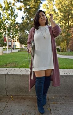 Navy wide calf OTK boots outfit: Lane Bryant -- plus size fashion plus size fall fashion plus size fall outfit fall outfit inspiration fall outfit inspo OTK boots over-the-knee boots plus size womens fashion outfit Plus Size Winter Outfits, Plus Size Fall Outfit, Simple Summer Outfits, Plus Size Fashion For Women, Plus Size Women, Plus Size Outfits, Fall Outfits, Fashion Outfits, Womens Fashion