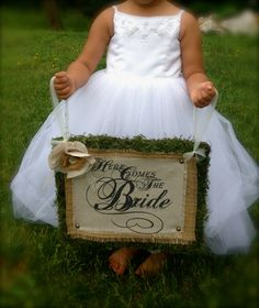 Here Comes The Bride Rustic Wedding Decor by BurlapandLinenCo, $42.00