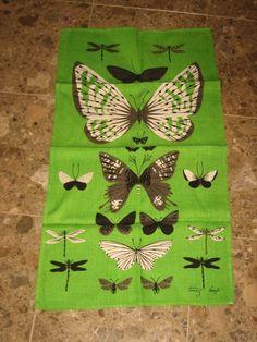 Vintage Tammi Keefe Linen Kitchen Towel Lime Green W/ Butterflies 15.5 X 28
