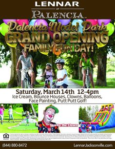 Palencia Grand Opening event! We'll have ice cream, bounce houses, face painting & more! #jacksonville #home #opening #event
