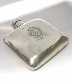 Antique Silver Hip Flask - waxantiques online gallery of antique silver Watch Cufflinks, Silver Accessories, Online Gallery, Cool Eyes, Duke, Antique Silver, Cheers, Infinity, Perfume Bottles