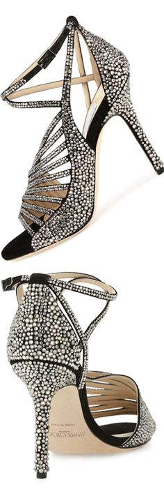 Jimmy Choo ~ Silver Studded Ankle Strap Sandals