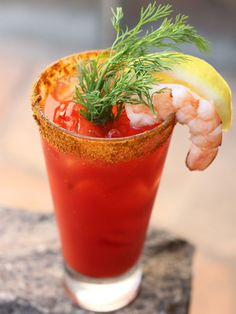 Colossal Bloody Mary    A spicy, delicious Bloody Mary made with an Old Bay Seasoning rim and garnished with a colossal shrimp.    Ingredients:  1.5 oz vodka (i.e. Belvedere Bloody Mary vodka or Effen Cucumber vodka are good choices.)  5 oz your favorite Bloody Mary mix  ½ teaspoon horseradish (freshly grated or sauce)  ½ teaspoon Worcestershire sauce  2 dashes Tobasco  ¼ teaspoon course ground black pepper  Old Bay seasoning  Colossal shrimp  Dill sprig, for garnish