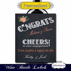 Engagement Gift  Custom Wine Label Chalkboard by M2MPartyDesigns