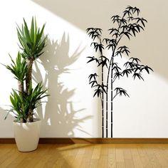 BAMBOO TREE GRASS WILD JUNGLE WALL STICKER DECAL MURAL STENCIL VINYL TRANSFER