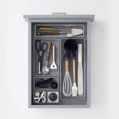 Time to de-clutter your kitchen drawers before the holidays! Shop our drawer organizers for solutions in every size. #smallkitchenstorage #diykitchen