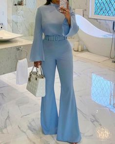 Solid Flare Leg Belted Jumpsuit Women's Online Shopping Offering Huge Discounts on Dresses, Lingerie , Jumpsuits , Swimwear, Tops and More. Trend Fashion, Suit Fashion, Look Fashion, Womens Fashion, Classy Fashion, Latest Fashion, Elegantes Business Outfit, Elegantes Outfit, Classy Outfits