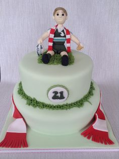Rugby player cake Sport Cakes, Rugby Players, How To Make Cake, Birthday Cake, Sports, Desserts, Food, Hs Sports, Tailgate Desserts