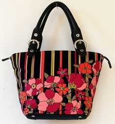 Inscription: Talbots on Zipper Pull Tabs and Inside Zipper Pockets. Lovely floral and striped handbag! Pattern: Floral and Stripes. Fabric: Shell is 100% Cotton, Lining is 100% Rayon. Lining: Fully Lined. | eBay!