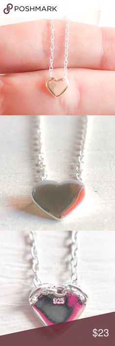 Plain Heart Necklace ( 925 Sterling Silver ) Mother's Day is almost here !!  This Heart Sterling Silver necklace makes a perfect gift for that special day. Easy and everyday necklace to wear. Material : 925 Sterling Silver. Silver weight : 1,6g. Part size : 7mm x 7mm Length : 45cm.l Every time you purchase from us you get a little gift for you ! Ready to ship from our studio in Delray Beach, Florida. Visit our shop for more lovely jewelry : www.etsy.com/shop/iuaccessories Designed with love…