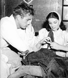 James Dean spends time with his girlfriend Pier Angeli while she visits him on the set of East of Eden in 1954