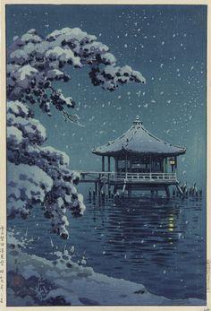 Snow At Katata. woodblock print.  Tsuchiya Koitsu