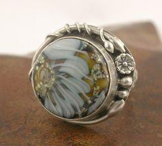 Petal  Lampwork Vine Silver Ring by SimplyAdorning on Etsy