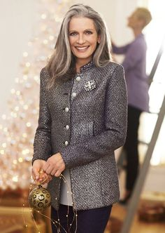 Beautiful lady going gray gracefully...