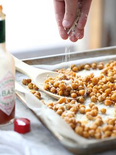 Spicy Roasted Chickpeas are a tasty salad topper | foodiecrush.com