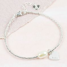 Free UK Delivery Our sleek beaded bracelet features a delicate personalised hand-stamped charm and pearl. Pearl Bracelet, Pearl Necklace, Beaded Bracelets, Hand Stamped, Gifts For Her, Lily, Pearls, Rose, Jewelry