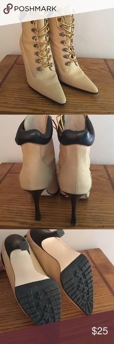 High heeled work boots High heeled work boots. Were never worn. Have some marks on them from being in the closet with no box but otherwise look brand new. Steve Madden Shoes Heeled Boots
