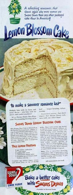"Lemon Blossom Cake recipe from ""The Ladies' Home Journal"" 