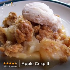 "Apple Crisp II | ""There's a reason this recipe has over 3,000 reviews! It's 5 STAR Delicious."""