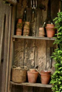 pots in gardening shed