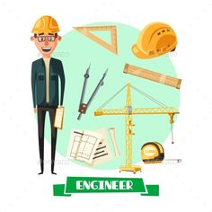 Engineer with Tool Icon for Profession Design by seamartini Engineer profession cartoon icon. Architect or civil construction engineer in yellow hard hat with architectural drawing, rules, t