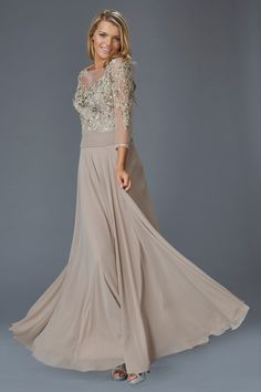 G2127 Beaded Chiffon Sheer Illusion Sleeve Mother of Bride Dress Evening Gown