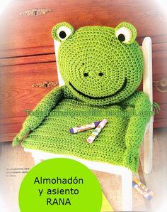 Como hacer un cobertor con almohadon para silla de niño al crochet