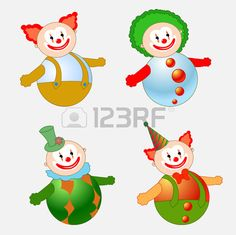 Vector illustration of four circus clowns on tilting doll style