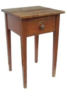 19th Century Maryland original red painted Hepplewhite Stand with a single drawer. Square head nailed construction