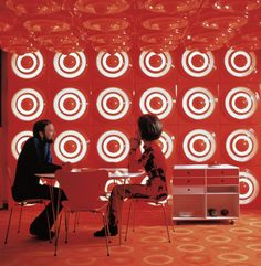 No, it's NOT a Target ad. Verner Panton interior with ring lamps, 1970