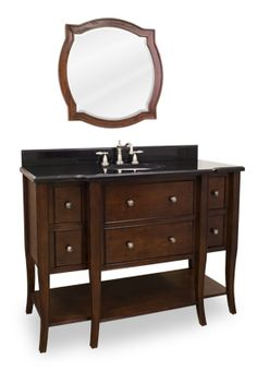 "Philadelphia Classic Vanity with Preassembled Top and Bowl from Lyn Design. This 48-1/2"" wide solid wood, single vanity has a rich chocolate brown finish to give this vanity an updated feel. This vanity features elegant tapered cabriole legs and rolled edge details for a more feminine look. Six fully working drawers, the two center fitted around the plumbing, and open bottom shelf gives this vanity ample storage. This vanity has a 2.5CM black granite top preassembled with an H8809WH 15"" x…"