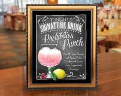 Wedding Decoration Sign 8 x 10 Signature Drink Sign | Gatsby/Deco Theme Wedding Prohibition Punch Cotton Candy Drink Unframed, Laser Printed Art on Card Stock  AS IT IS The base price of this listing is for the sign pictured in the first image (PIC #1) of this listing, as it is, with NO CHANGES to the header, text or illustration. (You may select a border from the choices shown in PIC #5.)  UPGRADE & PERSONALIZE IT Go beyond changing only the border & purchase the upgrade which a...