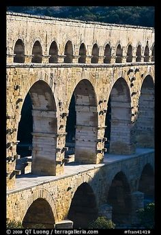 Arches of Pont du Gard. France,Part of gallery of color pictures of Europe by professional photographer QT Luong, available as prints or for licensing. La Grande Motte, Vaison La Romaine, Pont Du Gard, Sainte Marie, North Sea, Paris, Colorful Pictures, Arches, Picture Photo