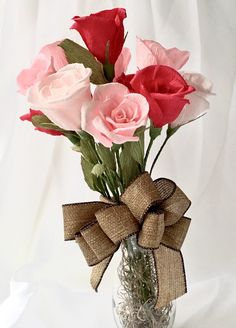 12 Paper Roses make Beautiful Valentines Flowers, Pink Crepe Paper Flower Arrangement with Vase and Bow by ThePaintedPetaler on Etsy https://www.etsy.com/listing/263278184/12-paper-roses-make-beautiful-valentines
