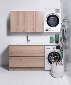 New Zealand premium luxury bathroom furniture Laundry Cabinets, Wooden Cabinets, Cupboards, White Bench, Stacked Washer Dryer, Bathroom Furniture, Bathroom Inspiration, Washing Machine, Home Appliances