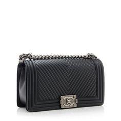 Chanel Calfskin Herringbone Medium Boy Bag