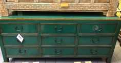 Chinese Handmade Chest of 9 Drawers in Deep Jade Green. From Beijing China. One of the few newly made bits of furniture we have. Exceptional Workmanship and quality 170 x 45 x 78cm #chinesefurniture #chineseart #asianart #asianfurniture #orientalfurniture #interiordesign #interiors #interiorstyling #nookdeco #thecliftonarcade