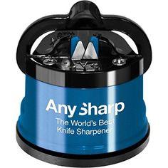 AnySharp Sharpener with PowerGrip, EXTREMELY Sharp, Blue