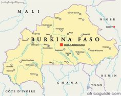 Burkina Faso map with capital Ouagadougou