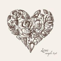 Vintage Herz mit Rosen Lizenzfreie Bilder