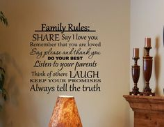 Vinylsay #0259 - Family Rules: Share, say I love you, do your best... Vinyl wall decals quotes... - Amazon.com