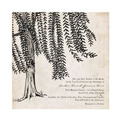 Vintage Willow Tree Wedding Invitation  This earthy, vintage invitation features black colors with the image of a weeping willow tree against a vintage, parchment paper background. This beautiful and elegant wedding invitation is great for spring and summer weddings!