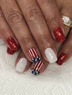 of July Flag Glitter Nails Light Elegance Little Red Sled & Diamond Glitter Nails, Gel Nails, Manicure, 4th Of July Nails, July 4th, Summer Vacation Nails, Patriotic Nails, Light Elegance, Fashion Hub
