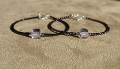 Black Spinel Bracelet, Purple Quartz Bracelet, Gemstone Bracelet, Lavender Bracelet, Skinny Bracelet, Dainty Bracelet by ThreeMagicGenies on Etsy