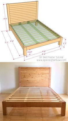 Rustic Bedroom Ideas - This has actually got to be among my favorite looks and also this listing is . Diy Bed Frame Plans, Diy King Bed Frame, Full Bed Frame, King Size Bed Frame, Bed Frame With Storage, Bed Frame And Headboard, Wood Headboard, Diy Frame, Diy Full Size Headboard