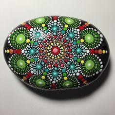Hand Painted Mandala Stone, Mandala Meditation Stone, Dot Art Stone, Healing Stone, #331 by MafaStones on Etsy
