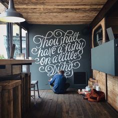 Ashley Willerton was commissioned to design and hand paint a custom lettering piece for popular Newcastle street food vendor, The Little Fishy. Mural Wall Art, Mural Painting, Mural Cafe, Chalk Wall, Word Art Design, Wall Drawing, Letter Wall, Letters, Kitchen Wall Art