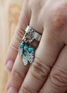 Personalized Silver Arrows & Turquoise Movement Ring by 2sistershandcrafted, $182.00
