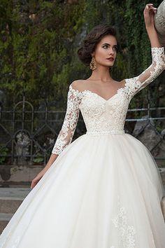 2016 Bateau Wedding Dresses 3/4 Length Sleeve With Applique Tulle € 273.23 SAPKN2PSHJ - schickeabendkleider.de for mobile